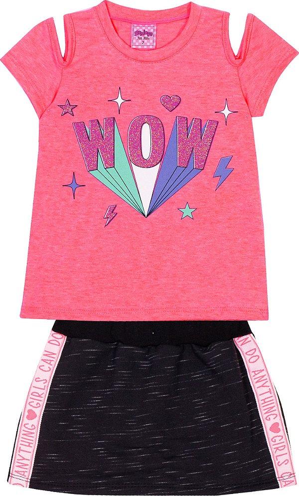 Conjunto Wow Neon Rosa - Serelepe Kids