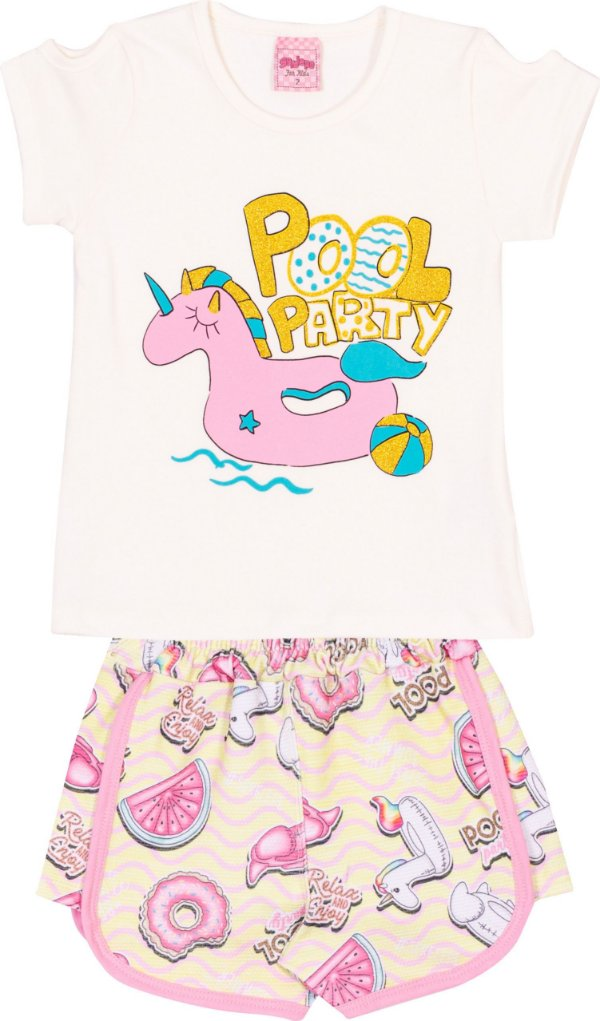 Conjunto Pool Party Off White - Serelepe Kids