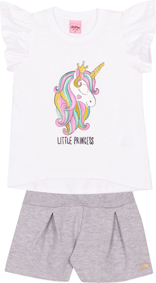 Conjunto Unicórnio Little Princess Branco - Serelepe Kids