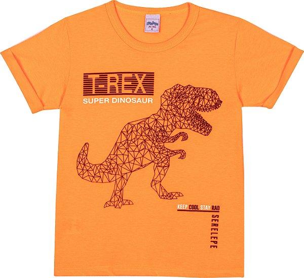 Serelepe kids - Camiseta Avulsa T-rex Laranja Neon