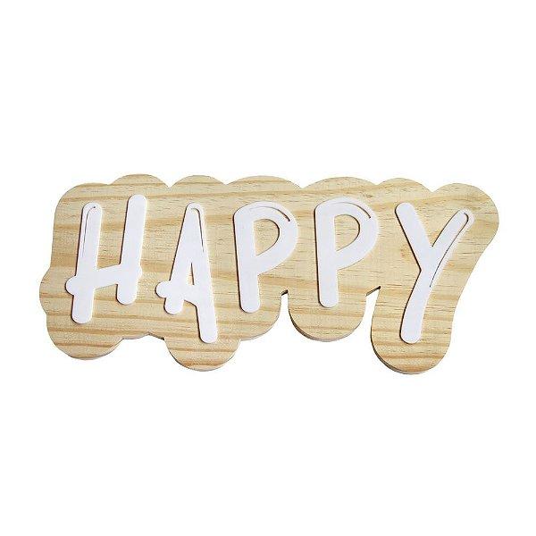 Lettering de parede Happy
