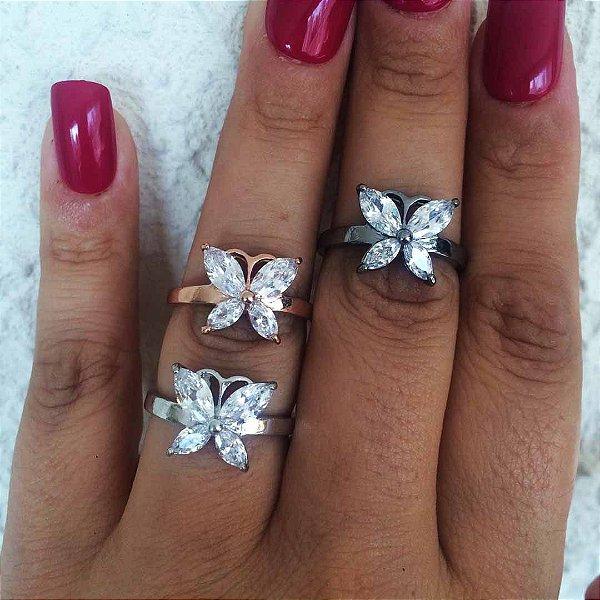 Anel borboleta zircônia semi joia da moda