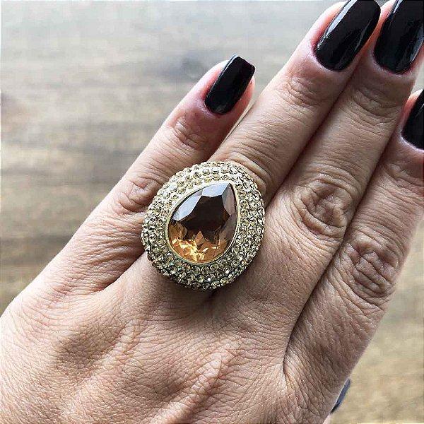 Anel âmbar semijoia feminina de luxo em ouro 18k