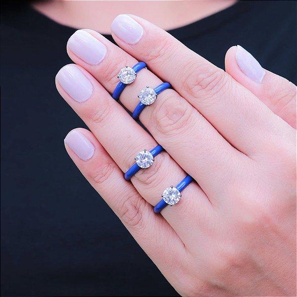 Anel da moda esmaltado em azul em ródio negro