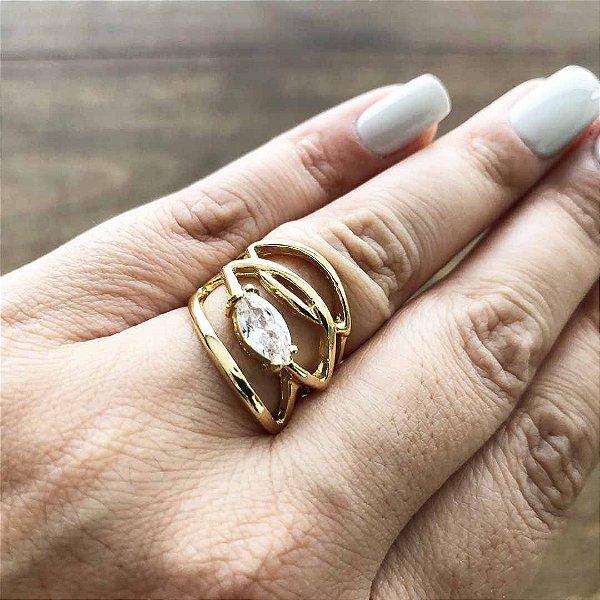 Anel feminino de luxo banhado em ouro 18k semi joia
