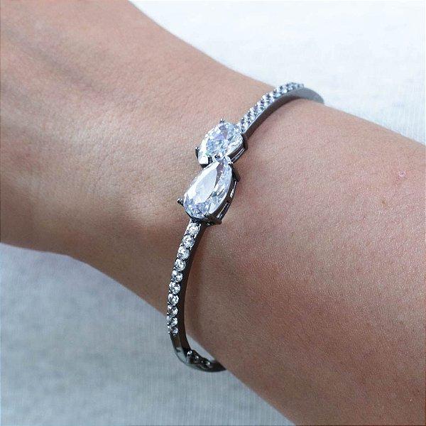 Bracelete feminino cravejado em zircônia cristal