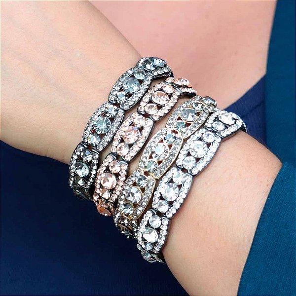 Maxi pulseira feminina em cristais semijoia luxo