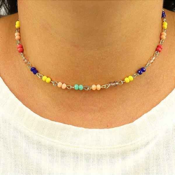 Gargantilha Choker com cristais coloridos da moda