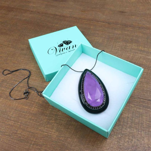 Colar esmaltado negro gota Ultra Violeta Fusion