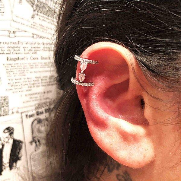 Piercing fake zircônia rosa fusion semijoia ródio
