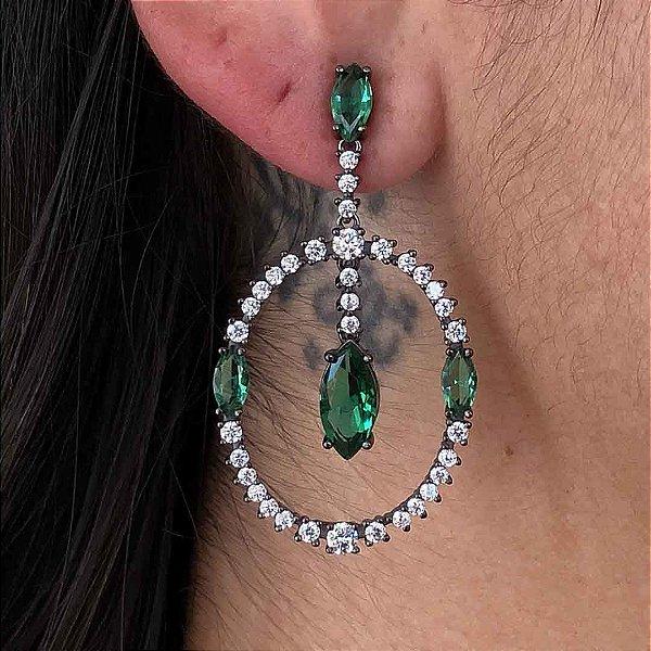 Brinco da moda zircônia esmeralda semijoia de luxo