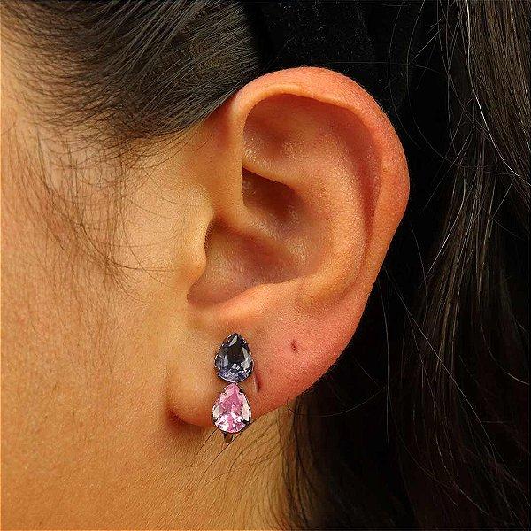 Brinco de pressão gota Lilás e rosa banhada em ródio negro