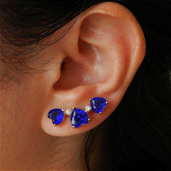 Brinco ear cuff coração semi joia da moda