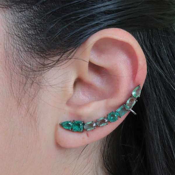 Brinco Ear Cuff longo geométrico zircônia Turmalina