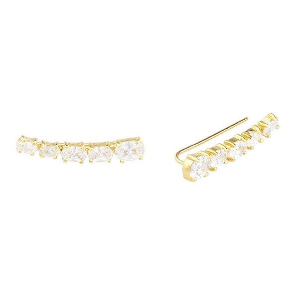 Brinco ear cuff zircônia branca em ouro 18k