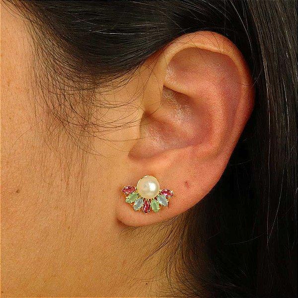Brinco mini Ear Jacket pérola com zircônia colorida