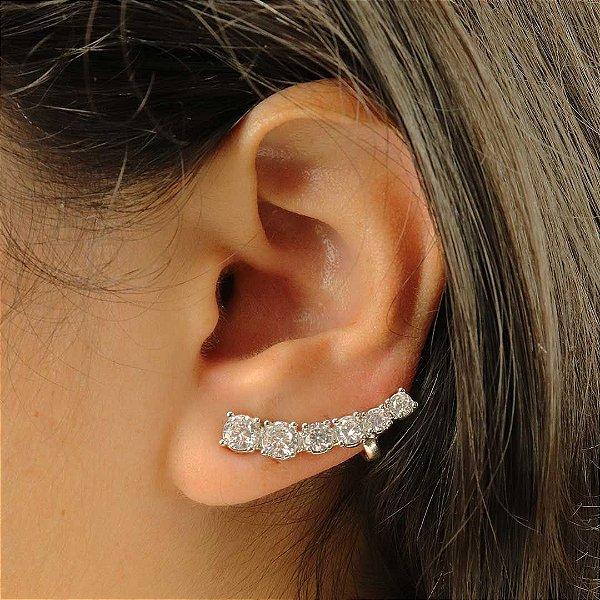 Ear cuff banhado em ródio com zircônia cristal redonda