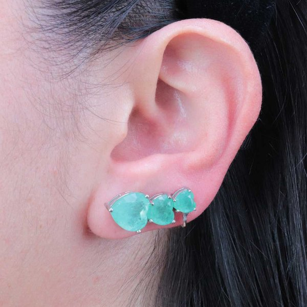 Ear cuff com três corações em turmalina fusion