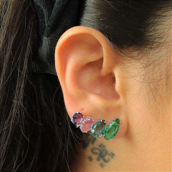 Ear Cuff de gotas coloridas semijoia de luxo