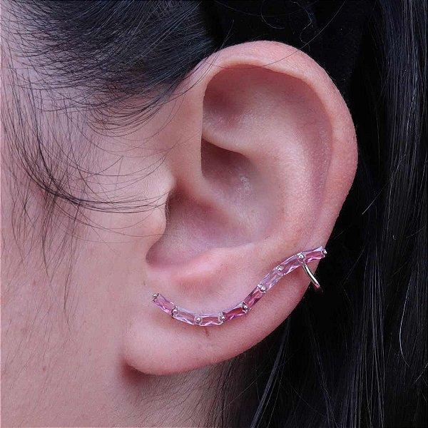 Ear Cuff delicado com zircônia Rubi banhado em ródio