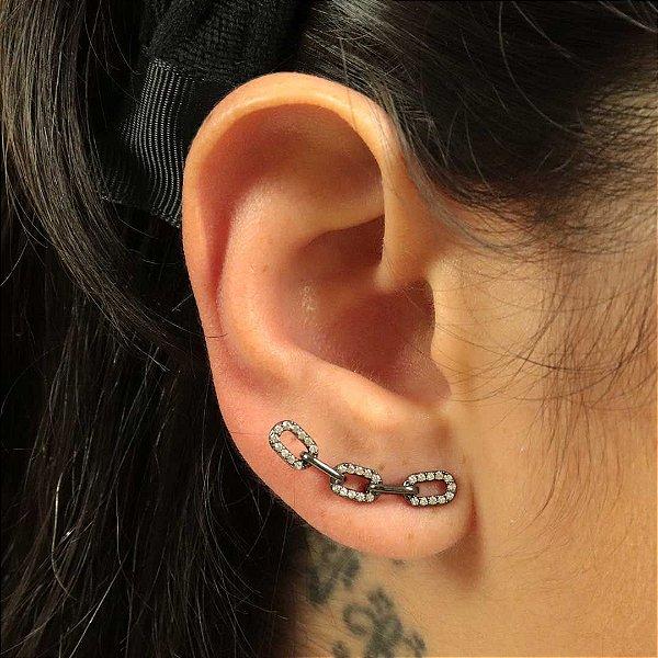 Ear Cuff elos de corrente cravejado em Cristal