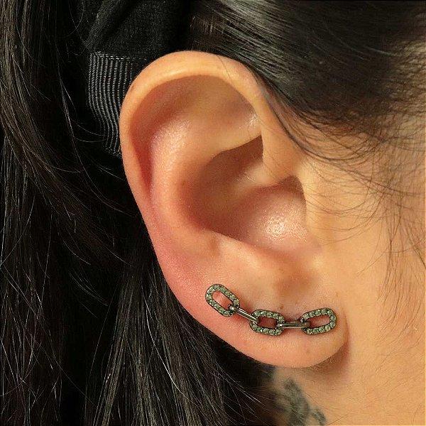 Ear Cuff elos de corrente cravejado em Turmalina