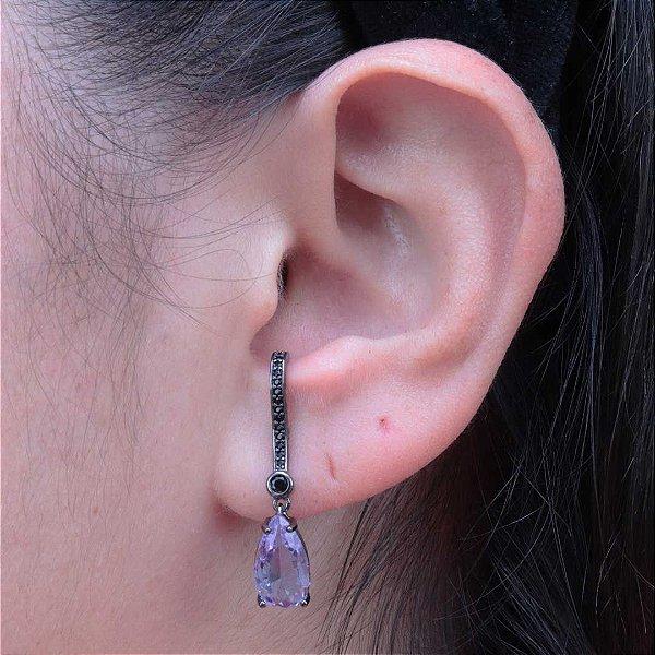 Ear Hook gota Ametista cravejado em zircônia ônix