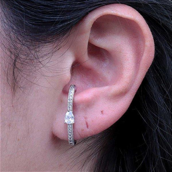 Ear Hook tendência cravejado em zircônia cristal