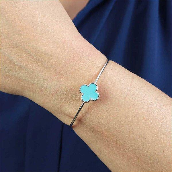 Bracelete feminino trevo semi joia esmaltada ródio