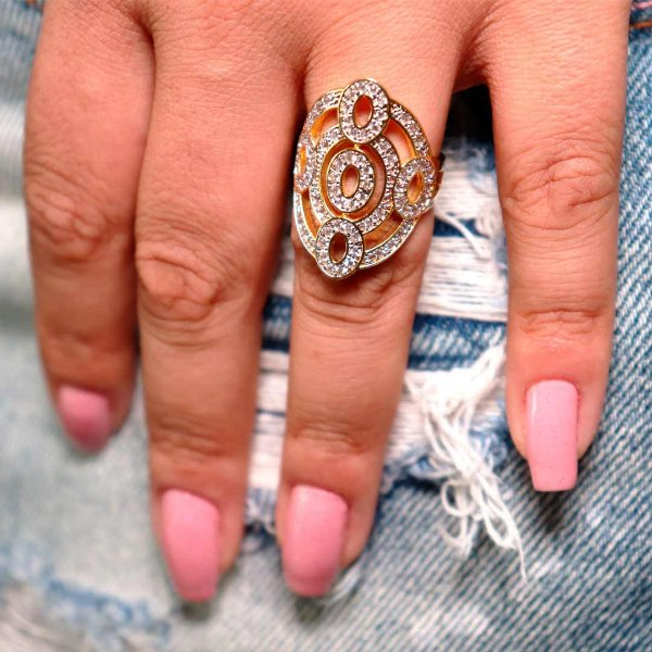 Maxi anel luxo cravejado em zircônia cristal