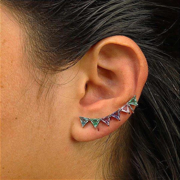 Brinco Ear Cuff colorido com zirconias triangulares