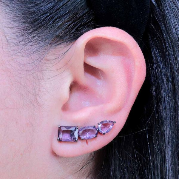 Brinco ear cuff zircônia ametista em ródio negro
