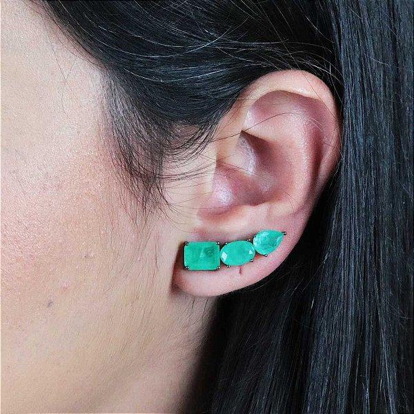 Brinco ear cuff zircônia turmalina fusion premium