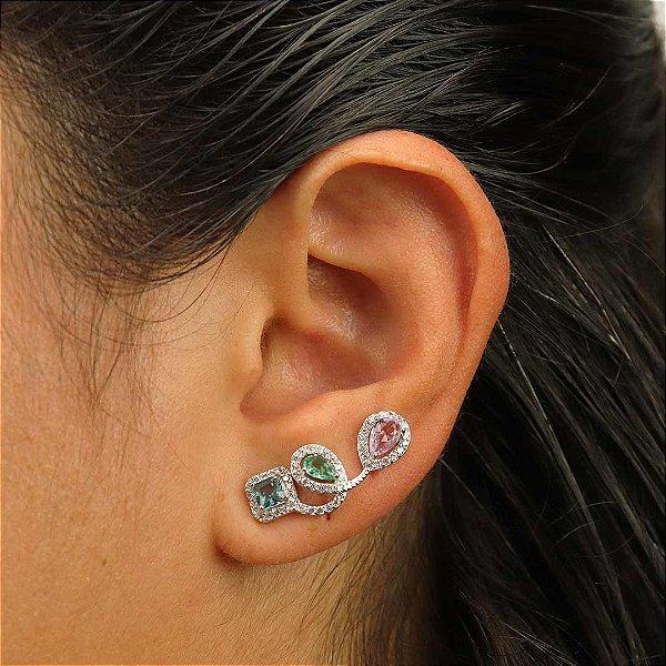 Ear Cuff Colorido contornado em zircônia cristal