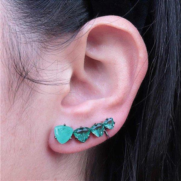 Ear Cuff triangular da moda zircônia Turmalina Fusion