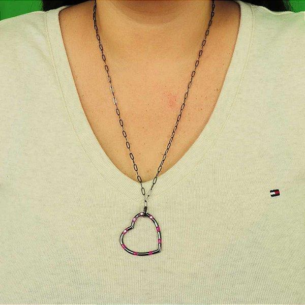 Maxi colar de coração esmaltado em Fúcsia