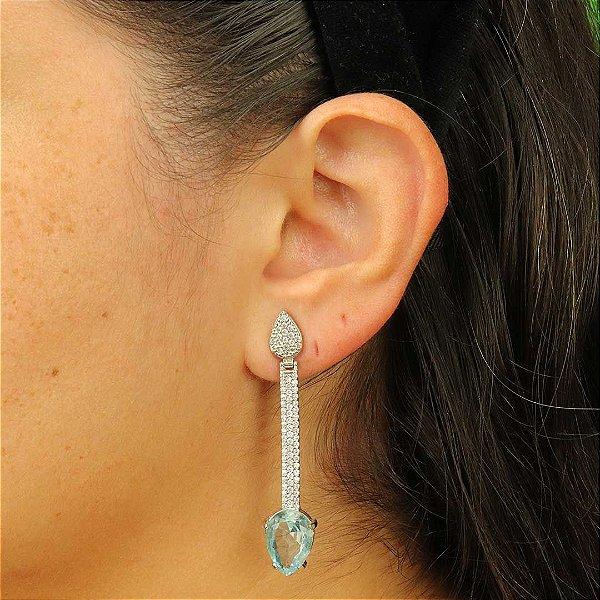 Brinco longo luxo de gota zircônia aquamarine
