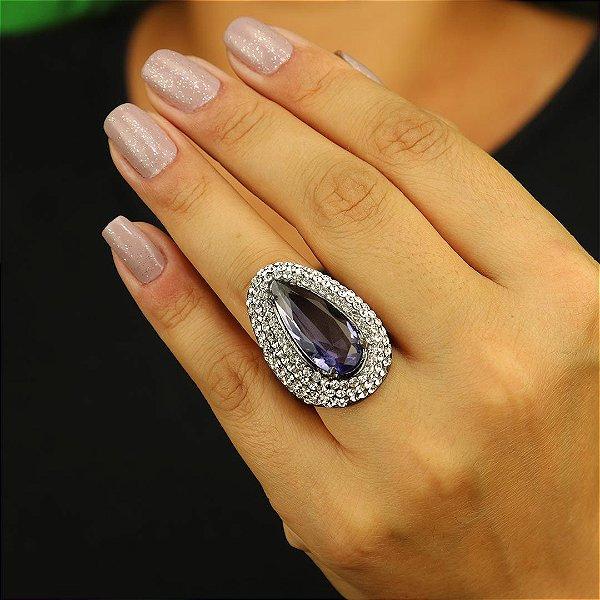 Anel gota violeta cristais austríacos cristais