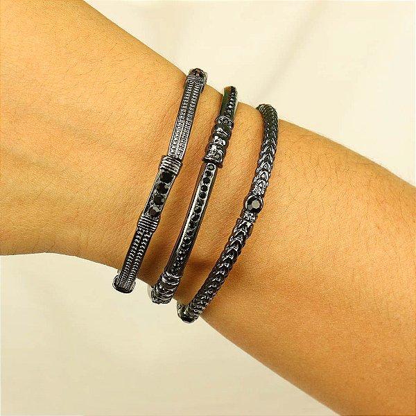 Trio de pulseiras em cristal austríaco ônix
