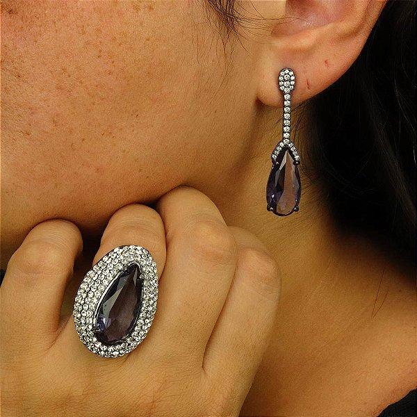 Look brinco pêndulo e anel gota em cristal violeta