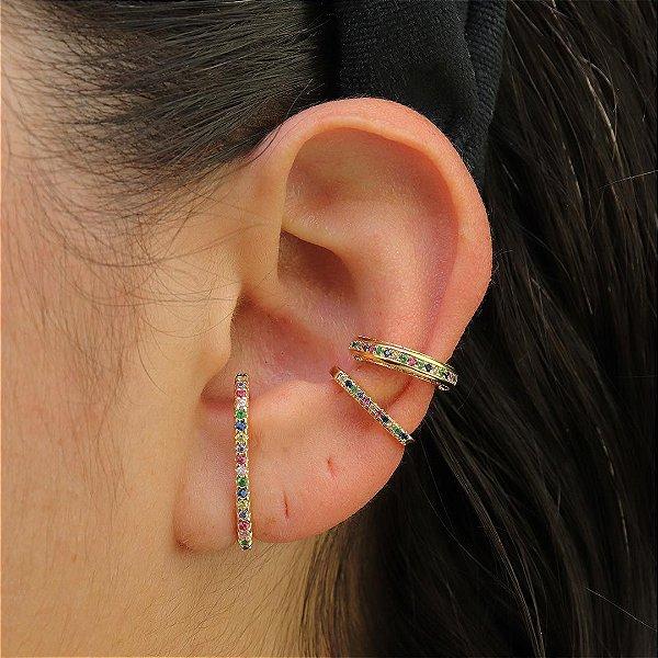 Look Ear Hook cravejado em zircônia colorida