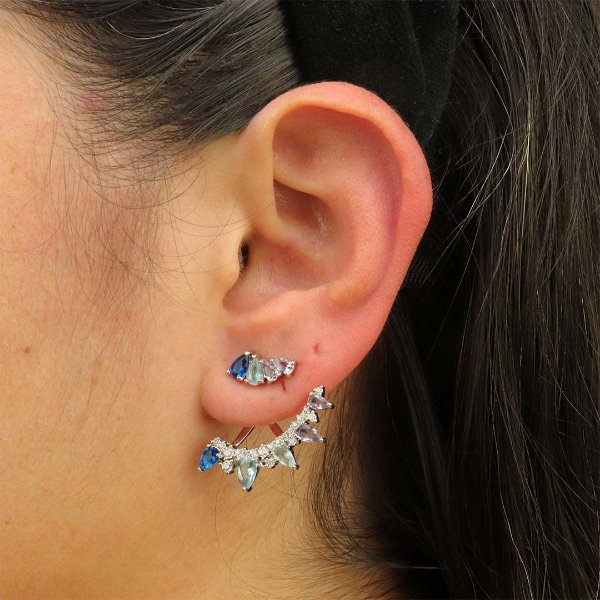 Brinco Ear Jacket gotas em zircônia degradê