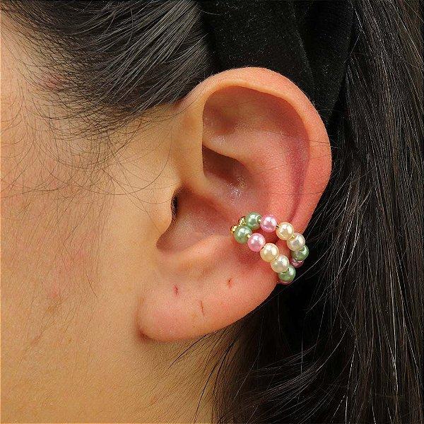 Piercing feminino duplo de pérolas coloridas