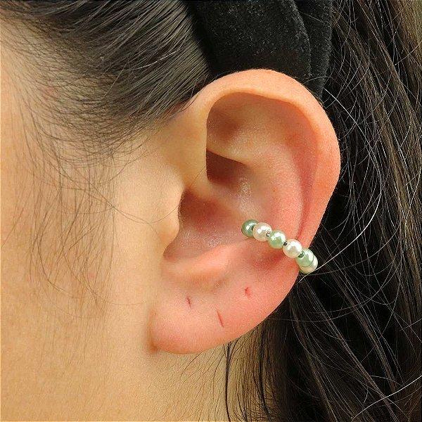 Piercing feminino de pérolas verdes semijoia