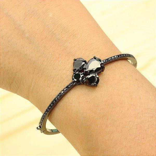 Bracelete de flor cravejado em zircônia ônix
