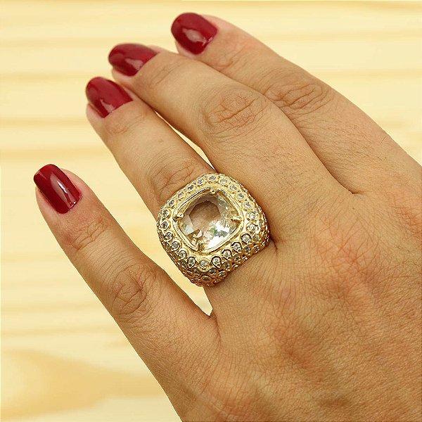 Anel oval strass austríacos cristais banho ouro 18k