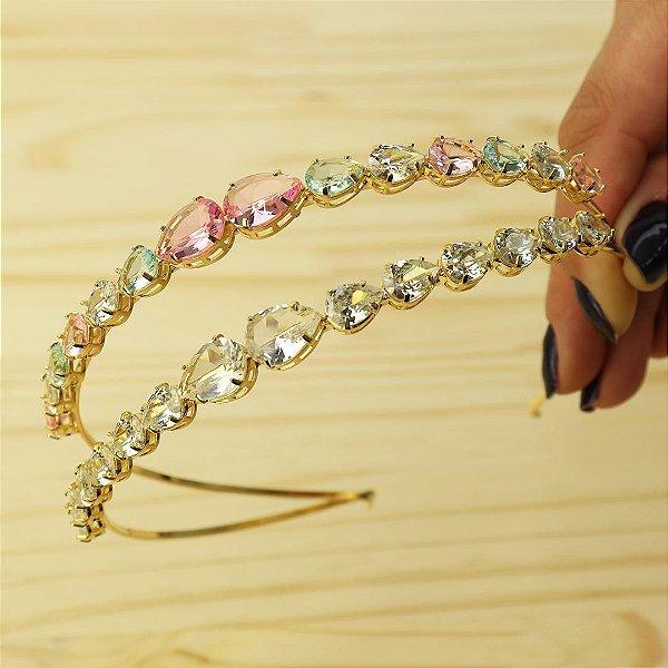 Tiara de cabelo em cristal com gota dupla colorida