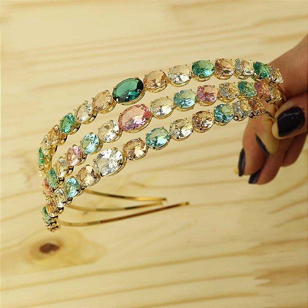 Tiara de cabelo em cristal oval colorido