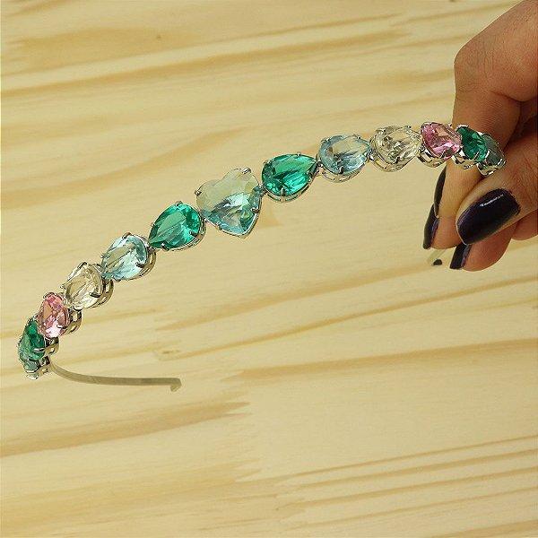 Tiara de cabelo em cristal de coração Aquamarine