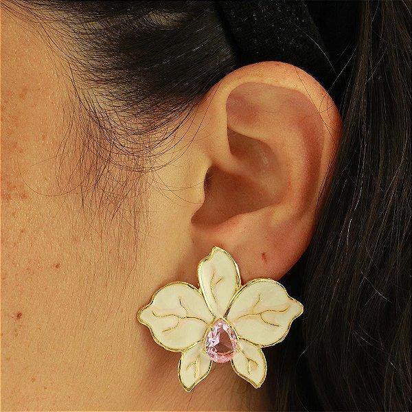 Brinco de flor esmaltado com gota Rosa